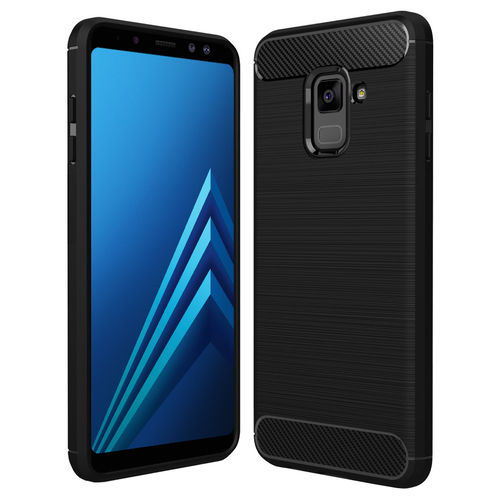 Flexi Carbon Fibre Texture Case for Samsung Galaxy A8 (2018) - Black